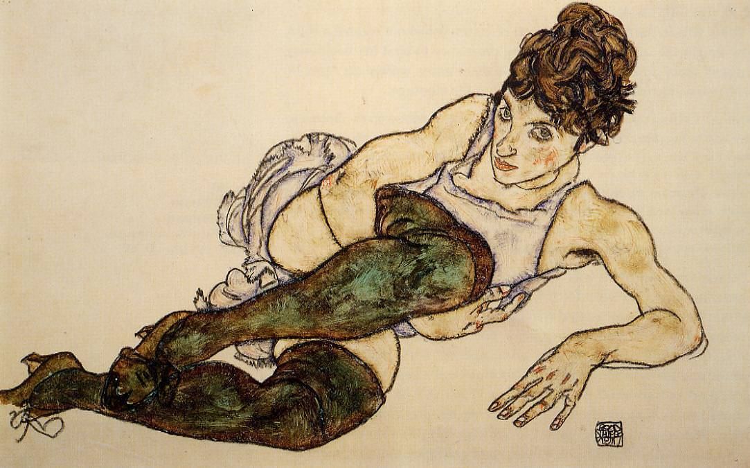 Reclining Woman with Green Stockings, 1917 by Egon Schiele