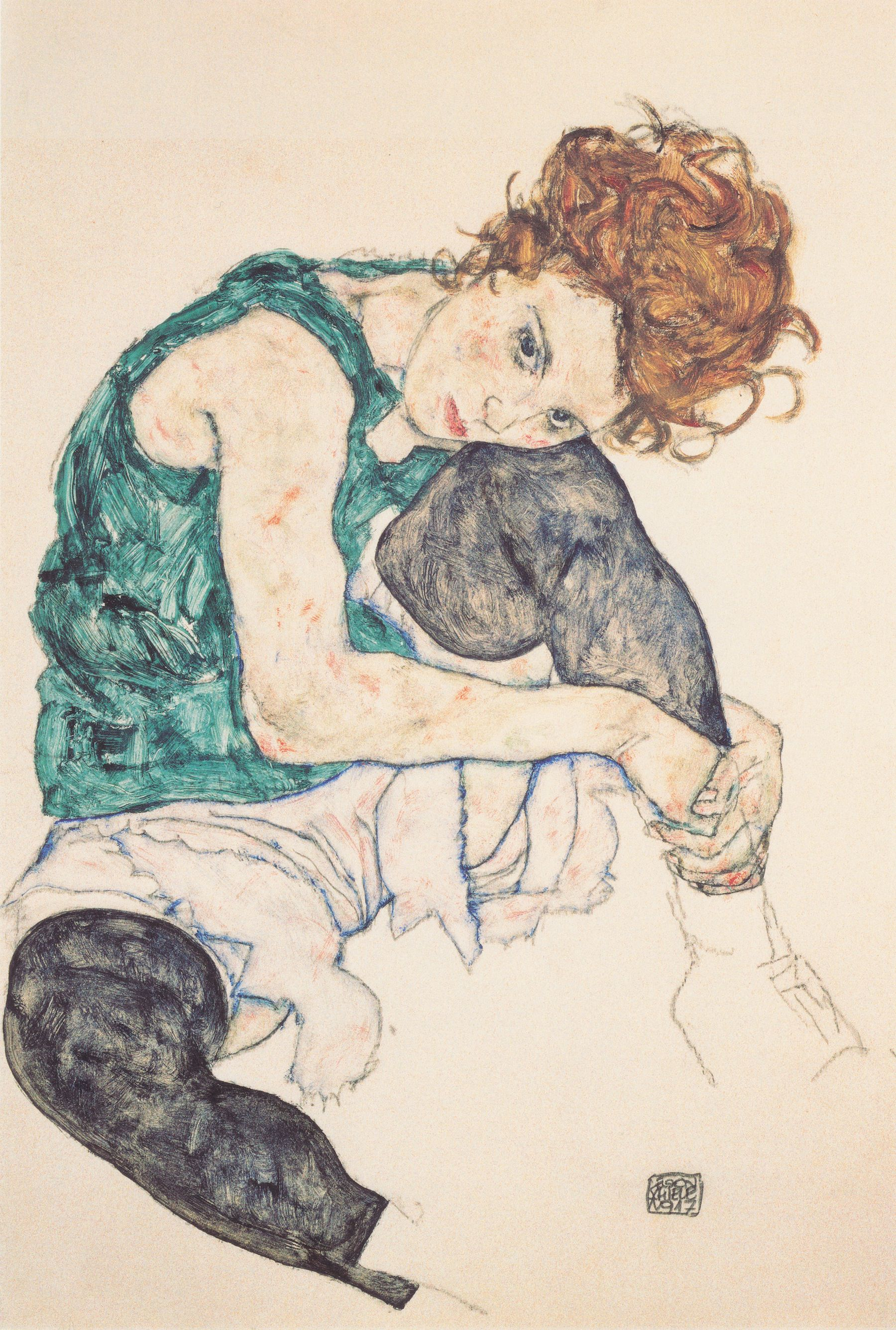 Sitting Woman with Legs Drawn Up, 1917 by Egon Schiele