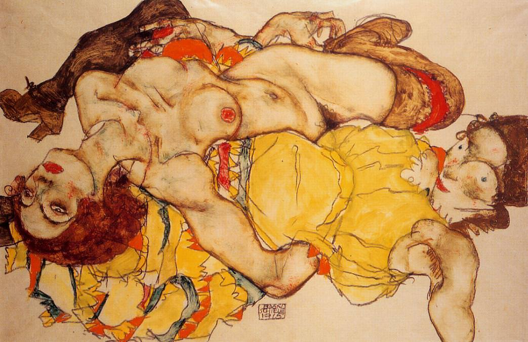 Two Girls Lying Entwined, 1915 by Egon Schiele