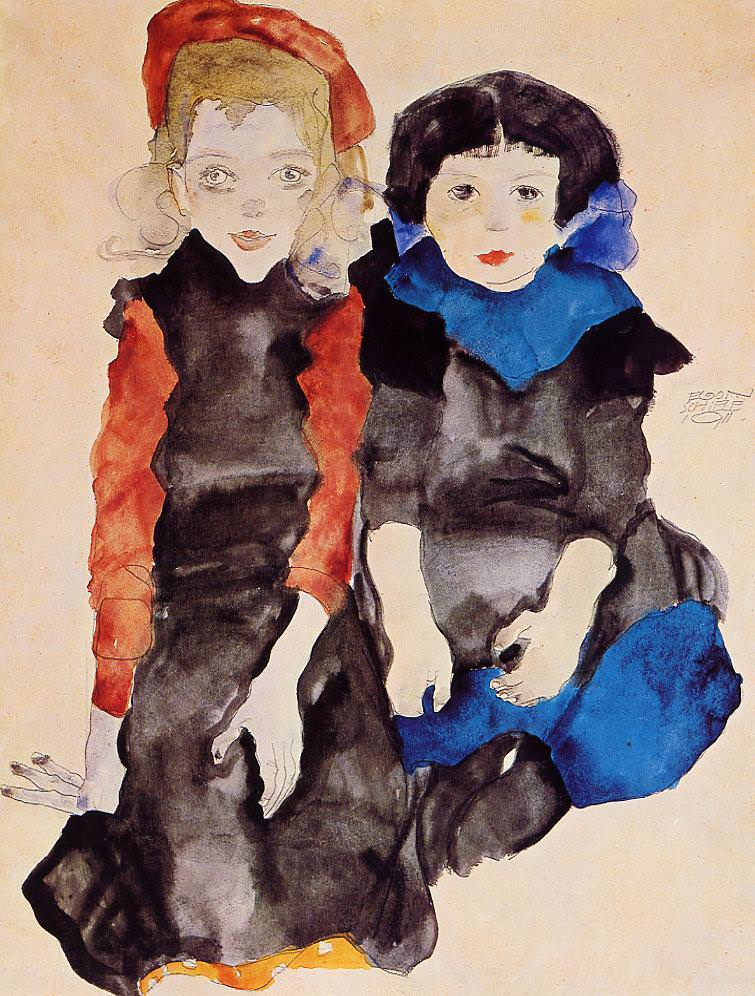 Two Little Girls, 1911 by Egon Schiele